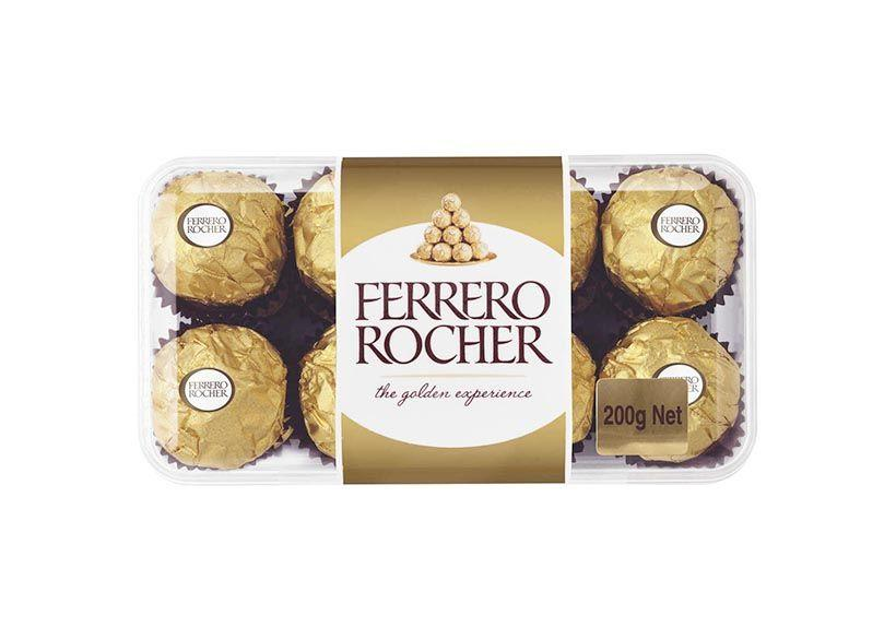 A pack of 16 chocolate balls know as Ferrero Rocher