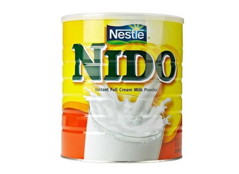 Powder packed in a tin to make milk