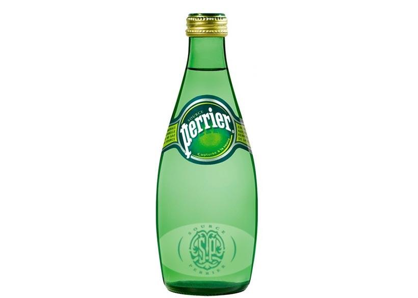 Sparkling water packed in a bottle by Perrier