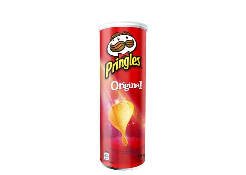 A Potato snack packed in Tin known as Pringles by Kellogg's