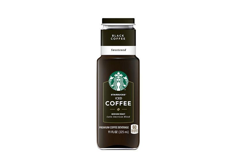 Black coffee drink packed in a bottle by Starbucks