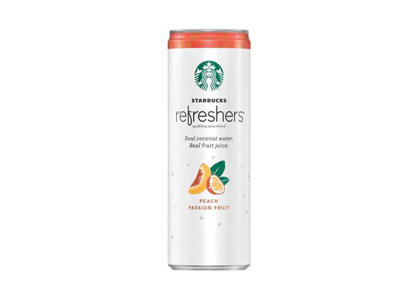 A refresher drink packed in tin by Starbucks