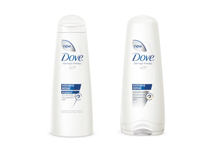 Image of hair conditioner and shampoo packed in bottles.
